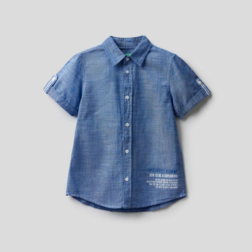 Shirt with cuffed sleeve