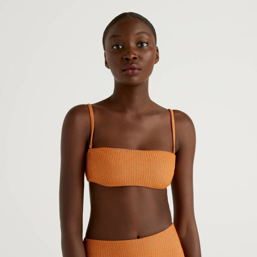 Ribbed bandeau top with lurex