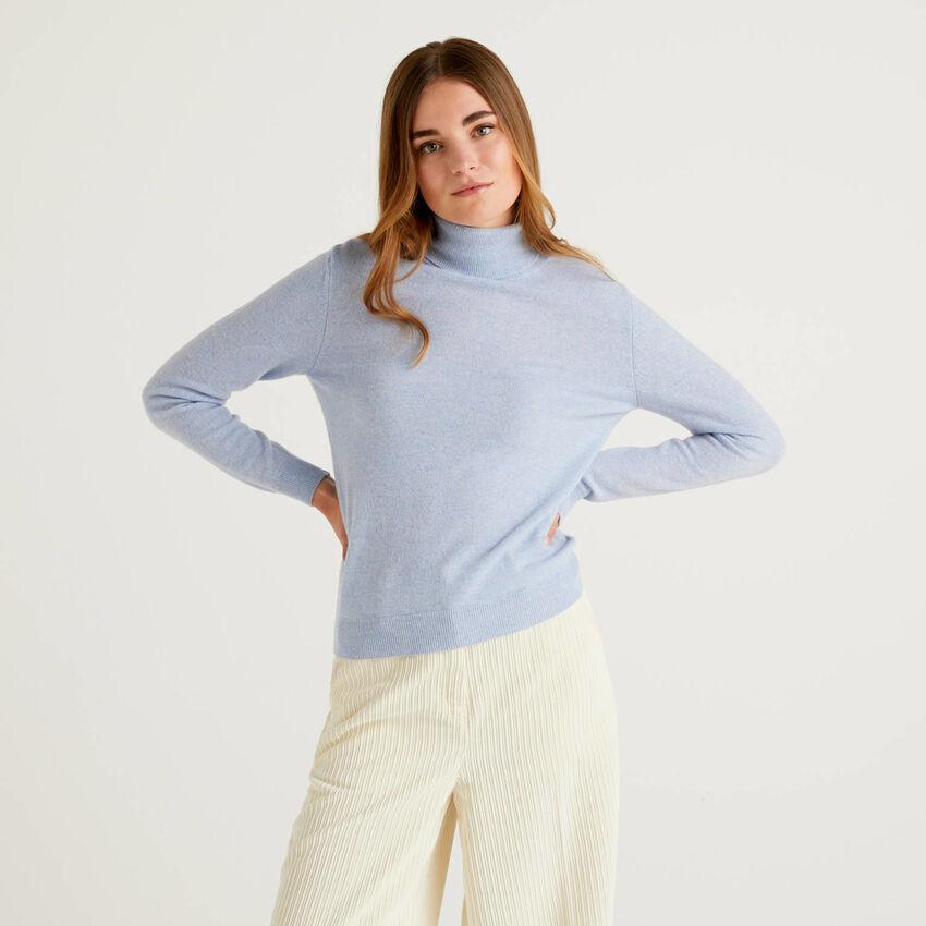 Sky blue turtleneck sweater in pure virgin wool