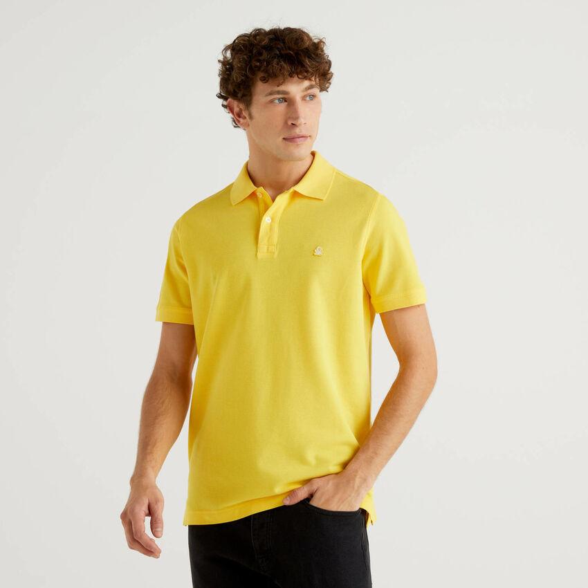 Regular fit customizable yellow polo