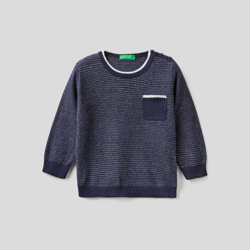 Textured sweater in wool blend