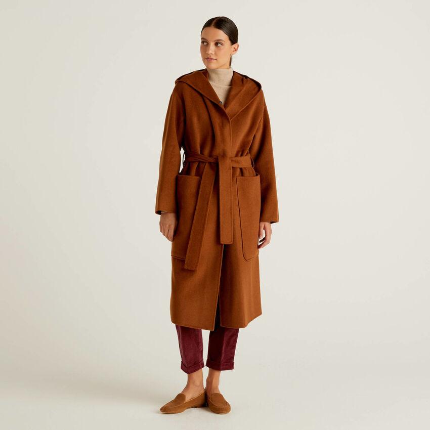 Coat with hood in wool blend