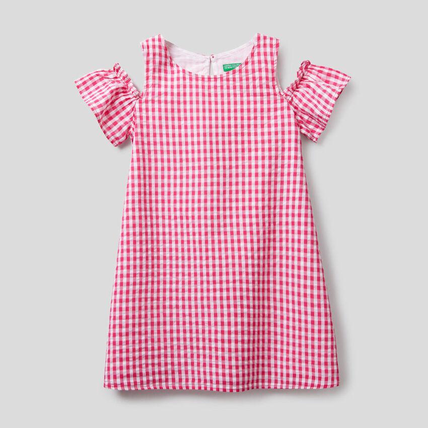 Vichy pattern A-line dress
