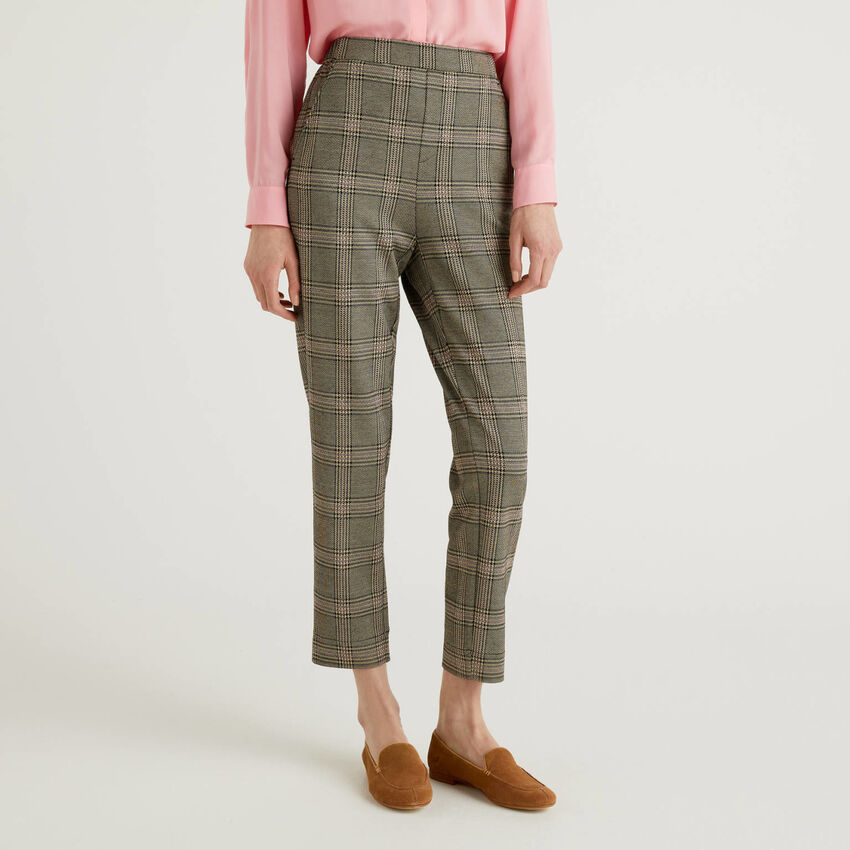 Patterned Prince of Wales trousers