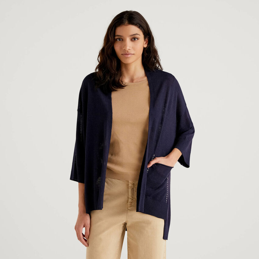 Open cardigan with 3/4 sleeve