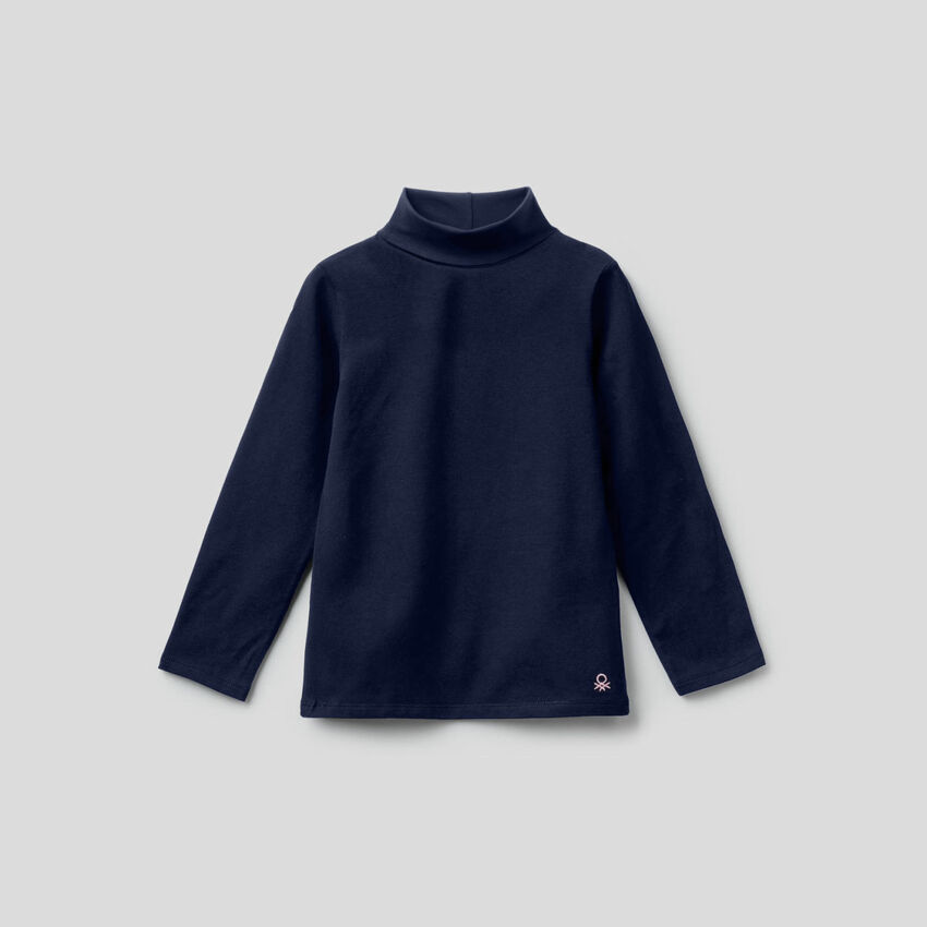T-shirt in stretch cotton with high neck