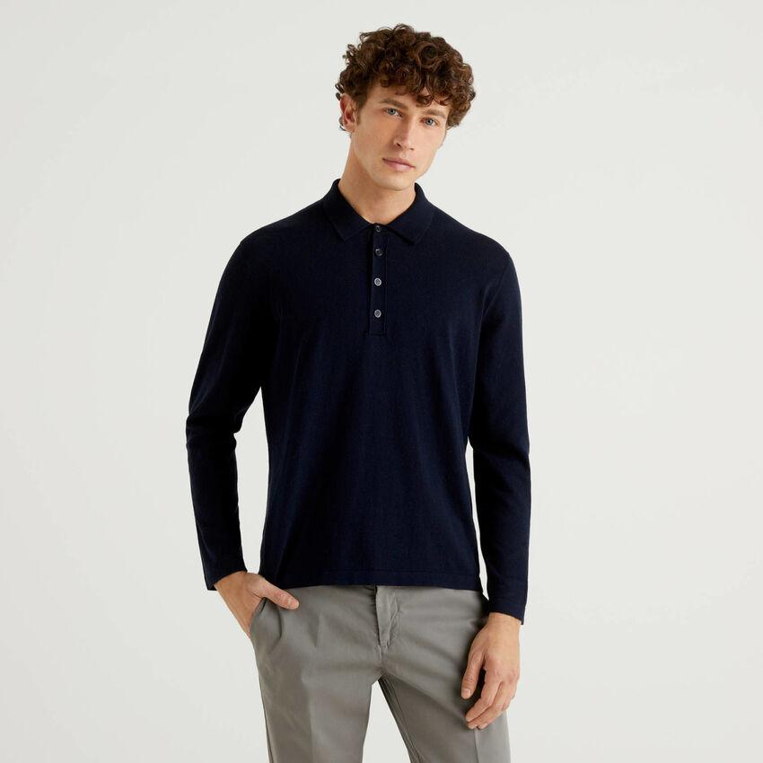 Long sleeve knit polo