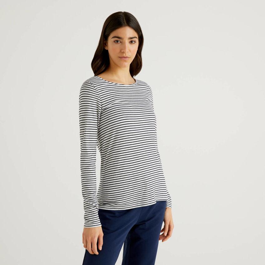 Striped t-shirt in stretch viscose blend