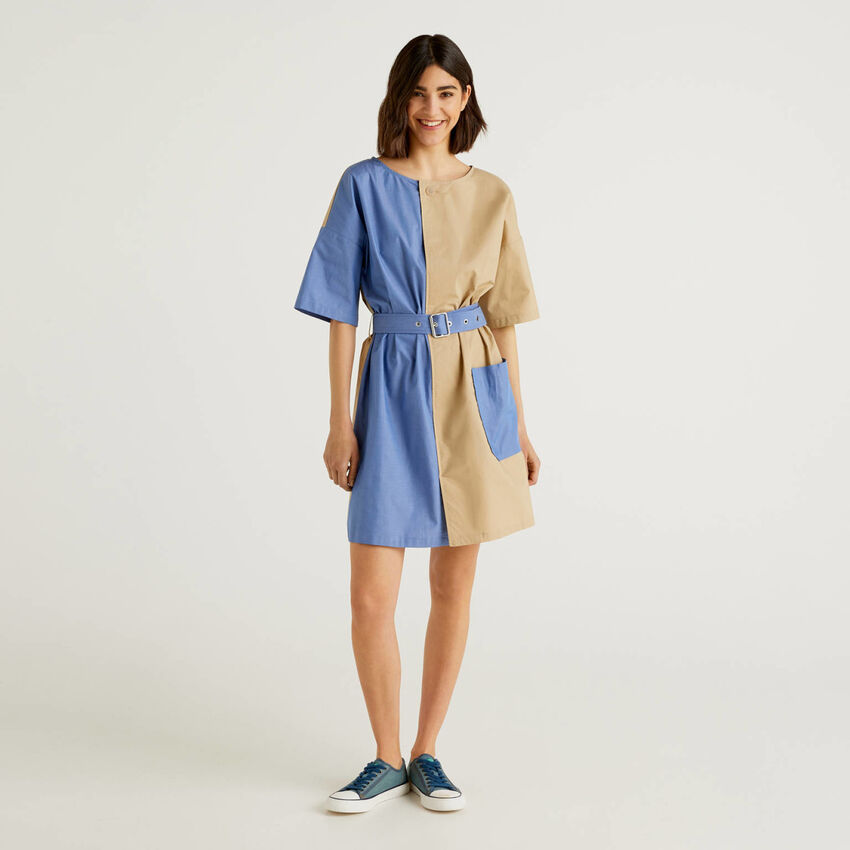 Short two-tone dress in pure cotton