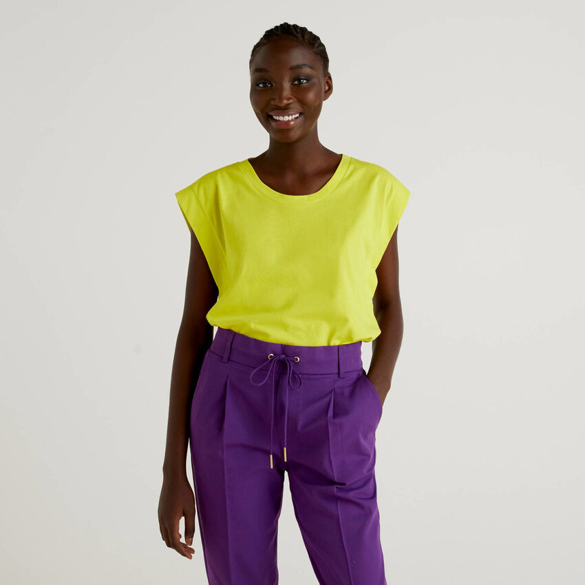 Cotton t-shirt with cap sleeves