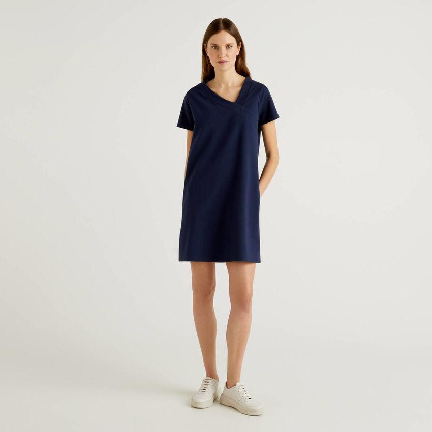Asymmetrical neck dress