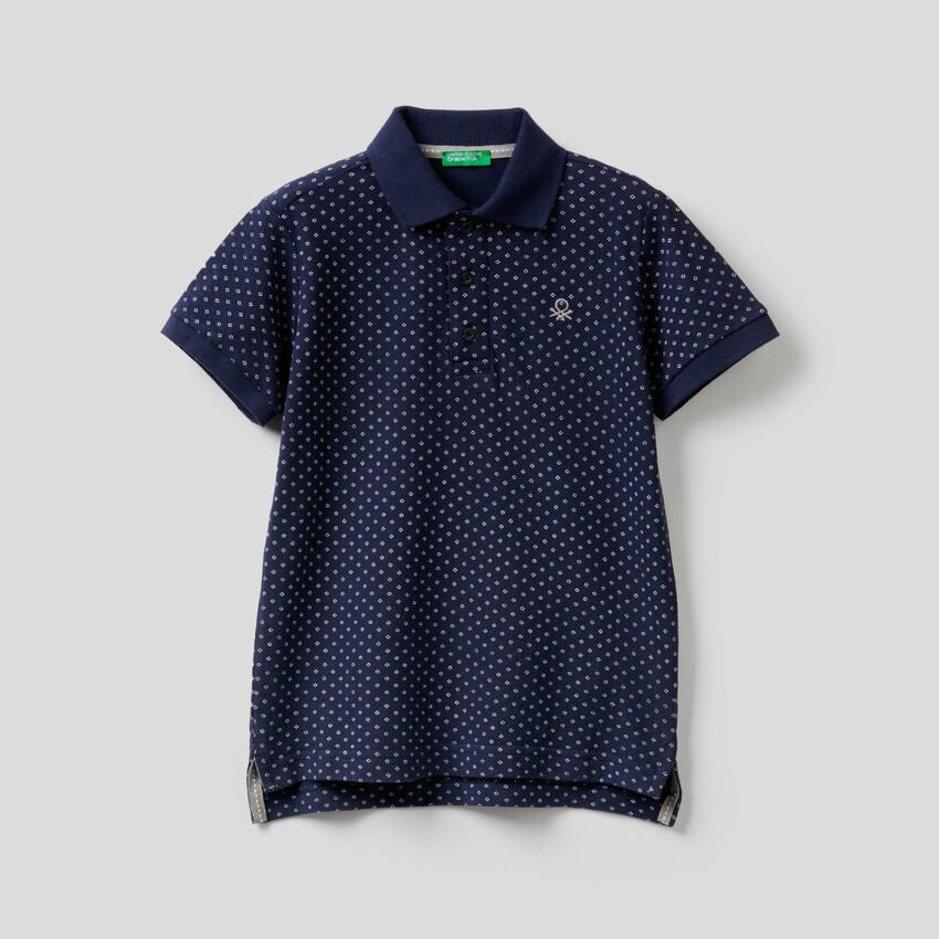 Polo in cotton with micro print