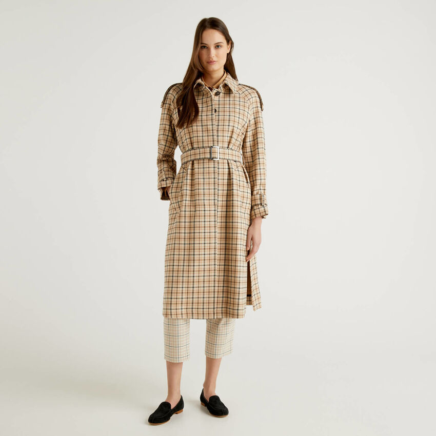 Long check trench coat