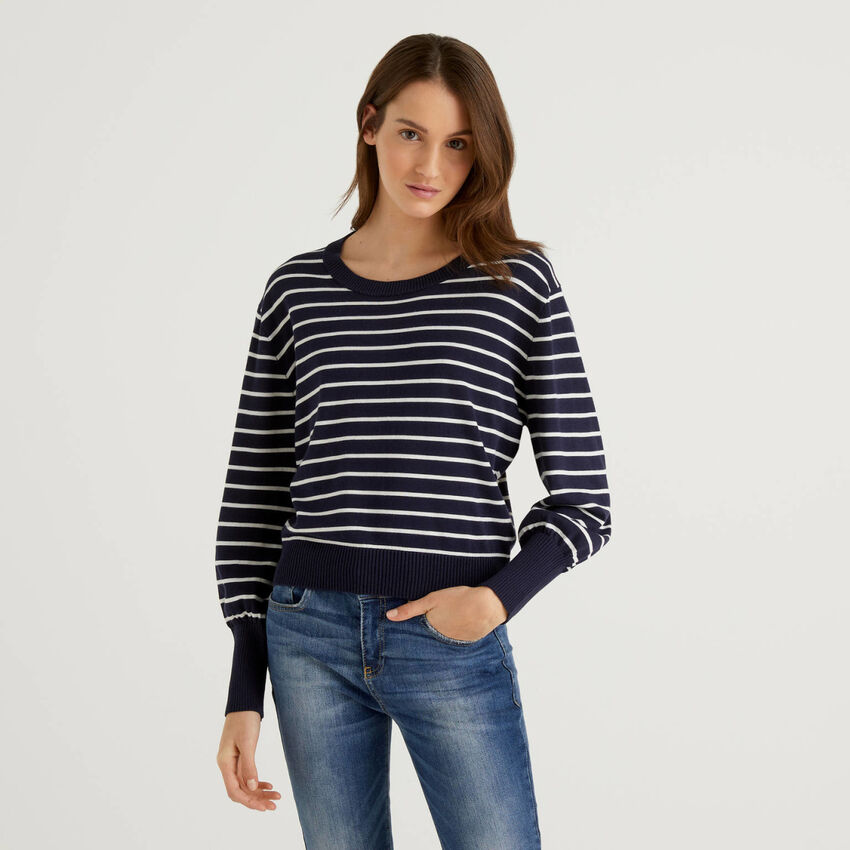 Striped sweater with puff sleeve
