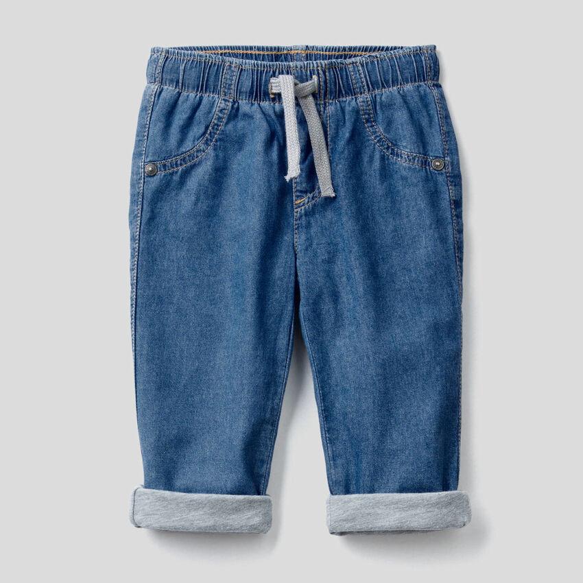 Lined lightweight denim trousers
