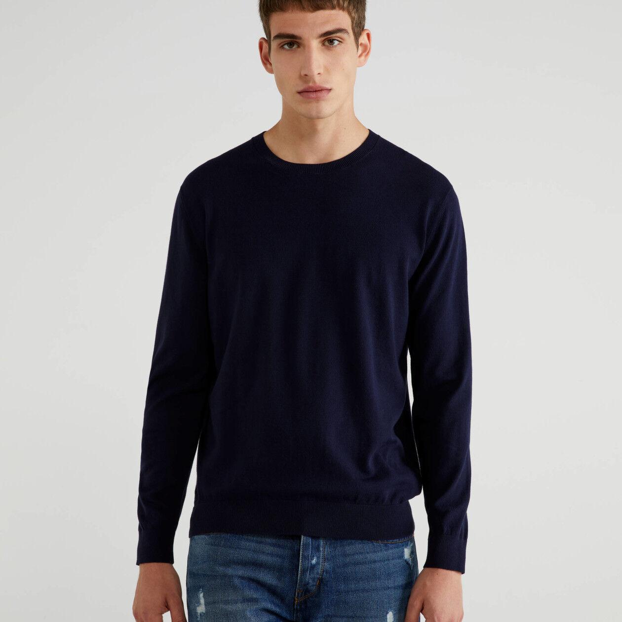 Crew neck sweater in tricot cotton
