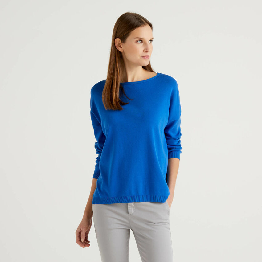 Cotton sweater with round neck