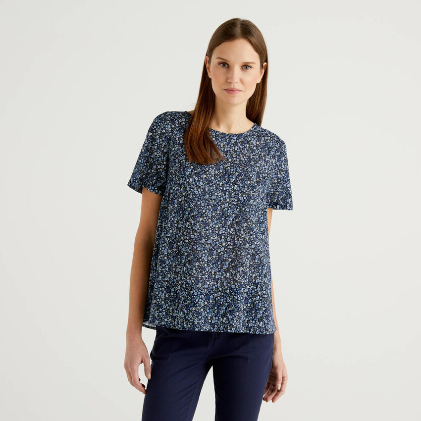 Patterned blouse in pure cotton