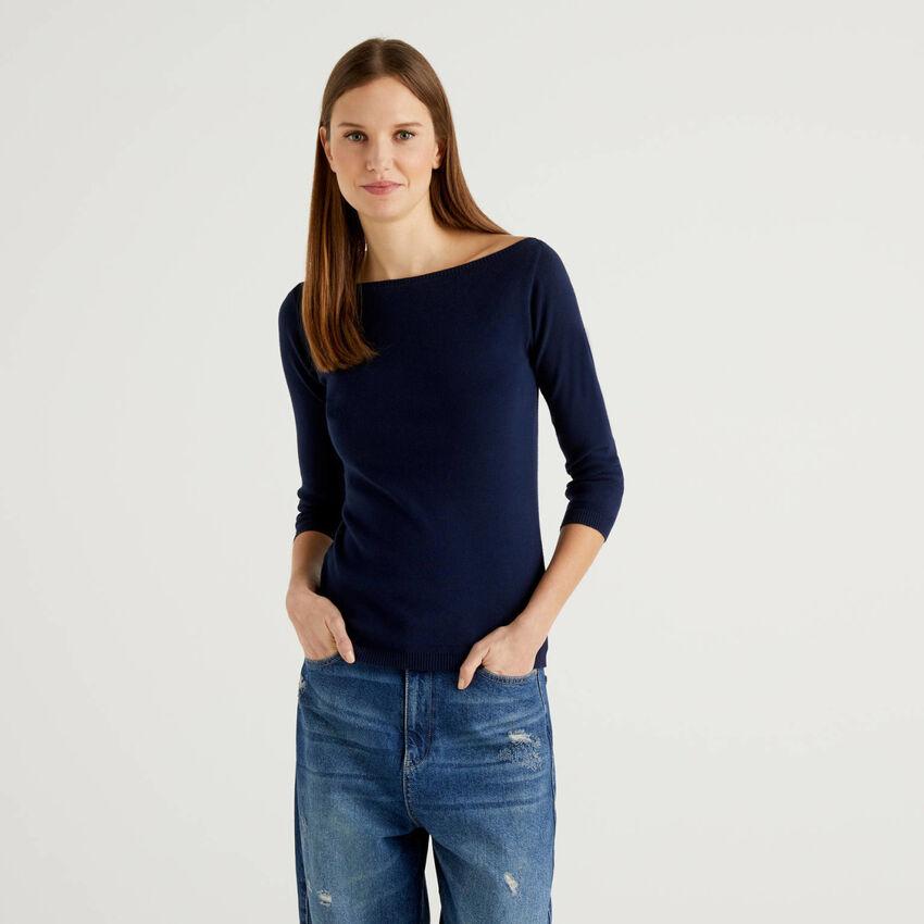 100% cotton boat neck sweater