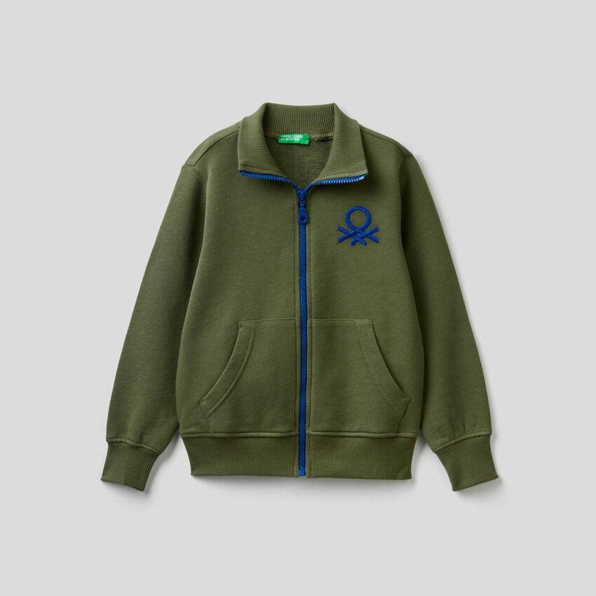 Sweatshirt with zip and embroidered logo