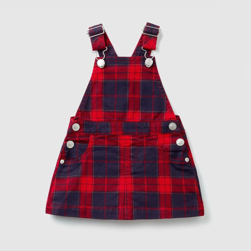 Tartan skirt overalls