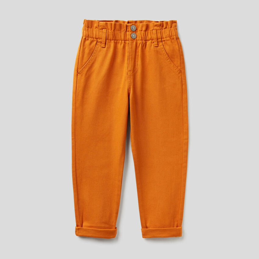 Paperbag trousers in organic cotton
