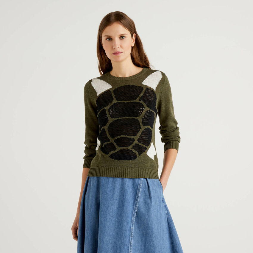 Sweater with open-knit inlay