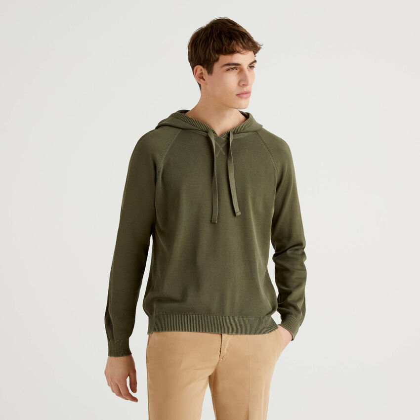 Sweater in pure cotton with hood
