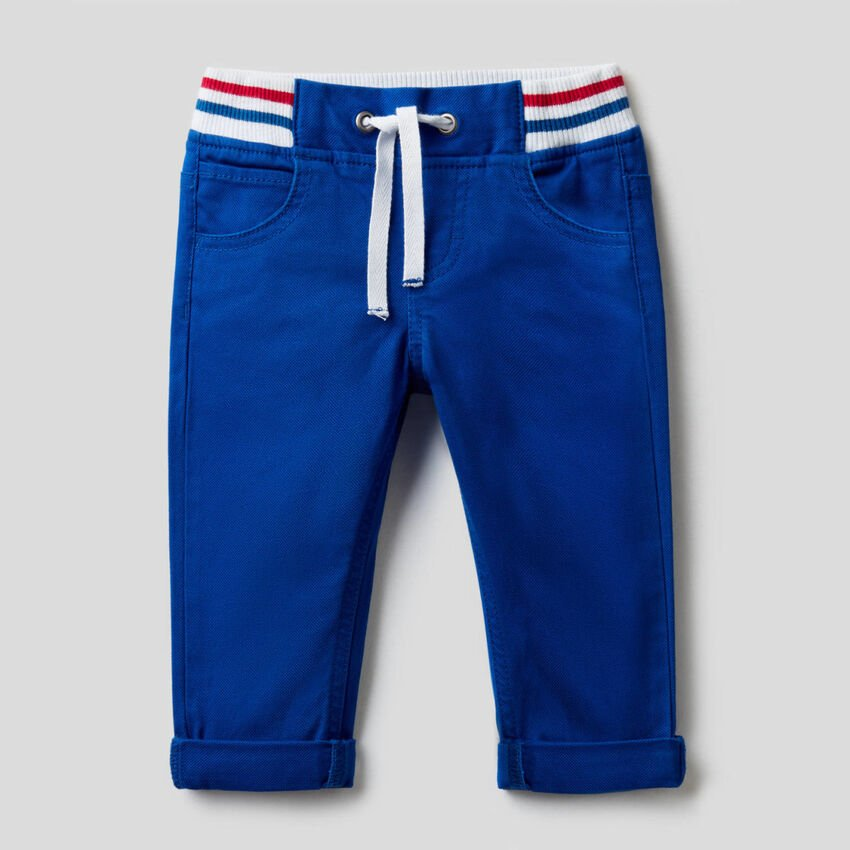 Trousers with drawstring in stretch cotton