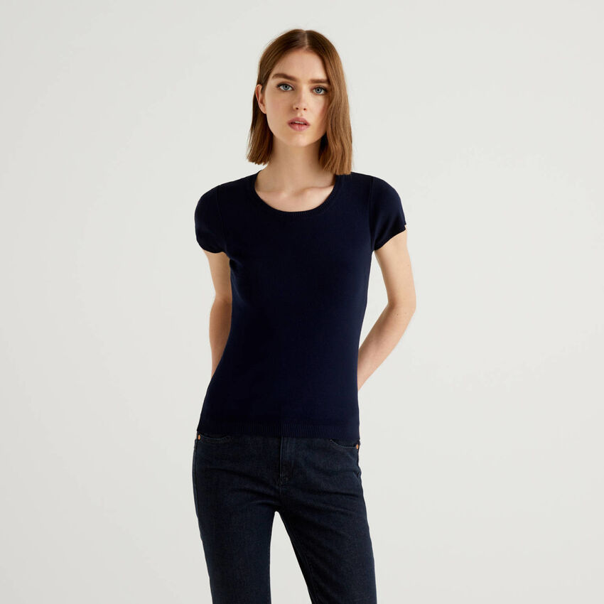 Short sleeve sweater in 100% cotton