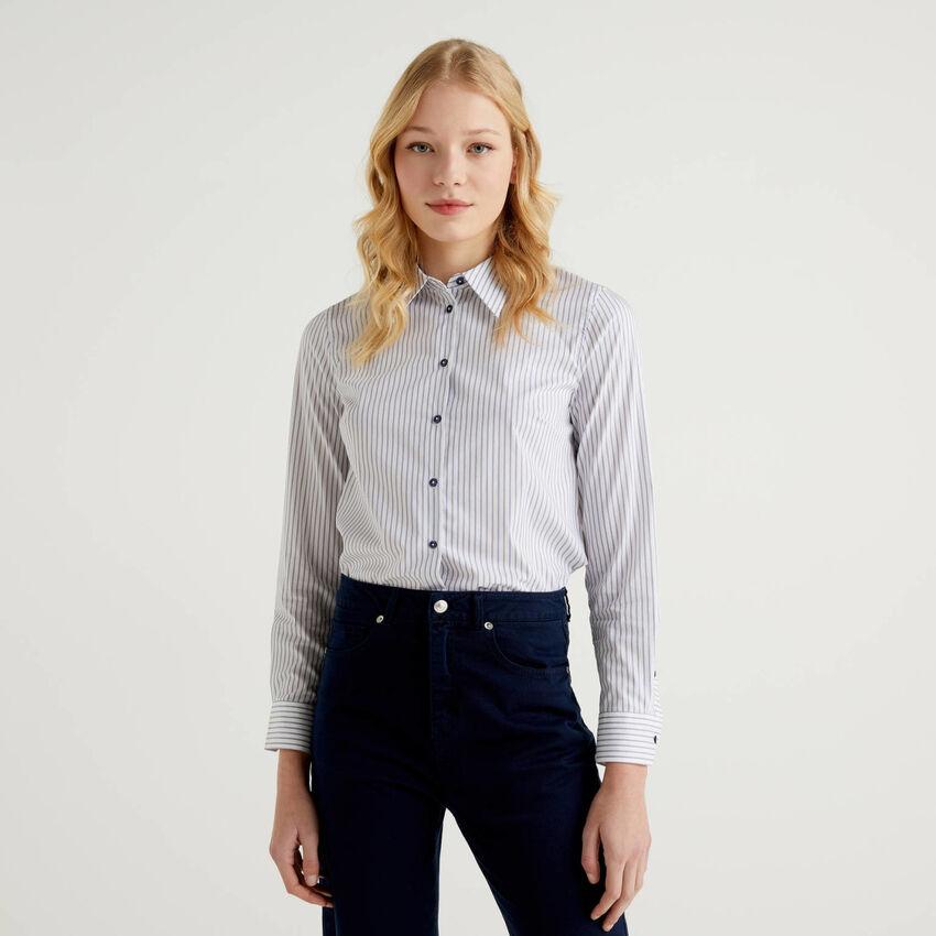 Striped shirt in stretch cotton blend