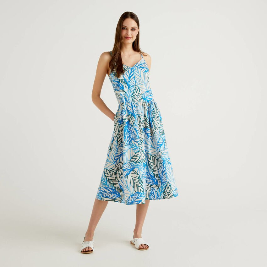 Dress with shoulder strap in printed cotton