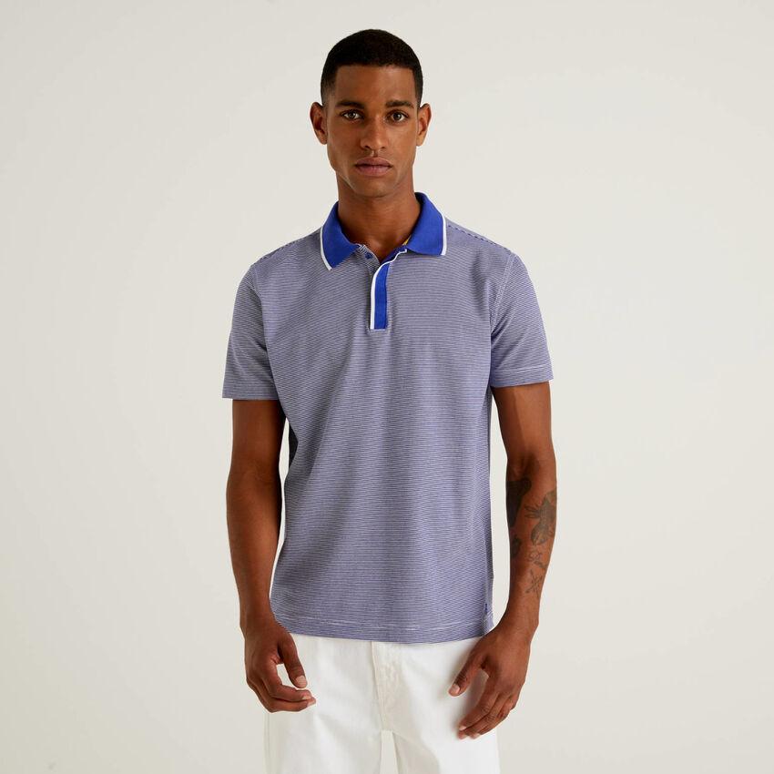 100% cotton thin striped polo shirt