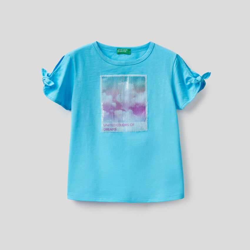 T-shirt with sequin panel