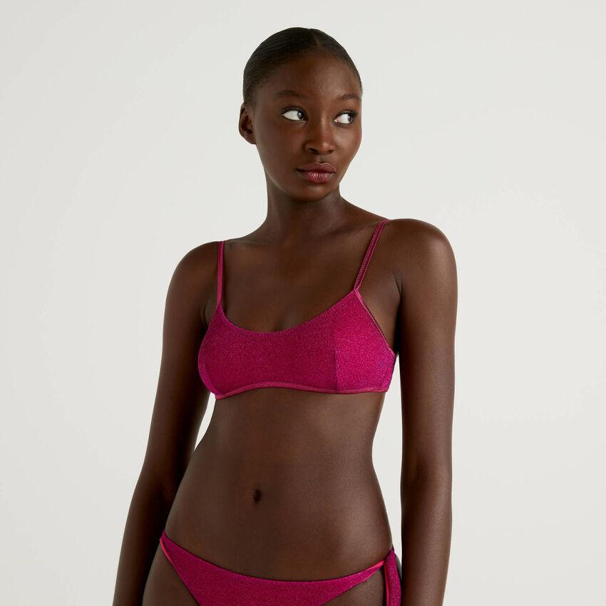 Brassiere swimsuit with lurex