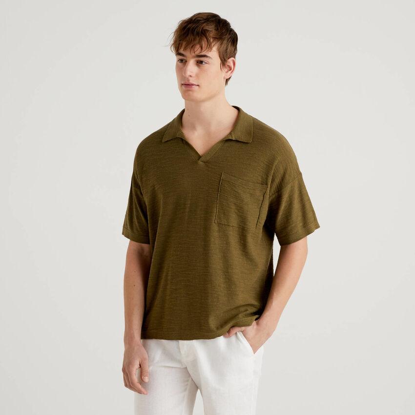 Polo in linen blend cotton