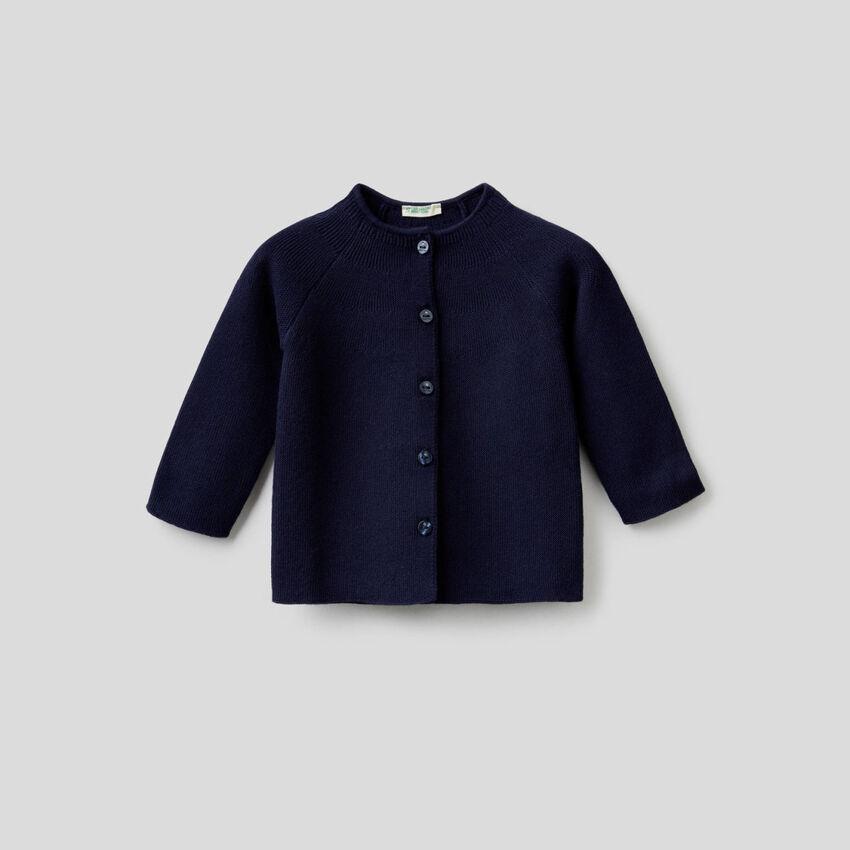 Pure cotton crew neck cardigan