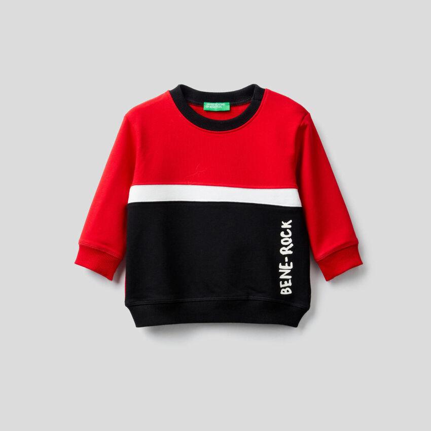 Color block sweatshirt in stretch organic cotton
