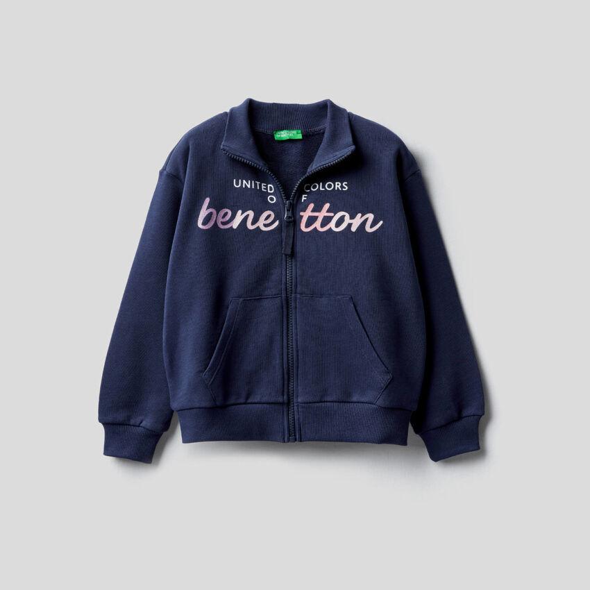 100% cotton zip-up sweatshirt