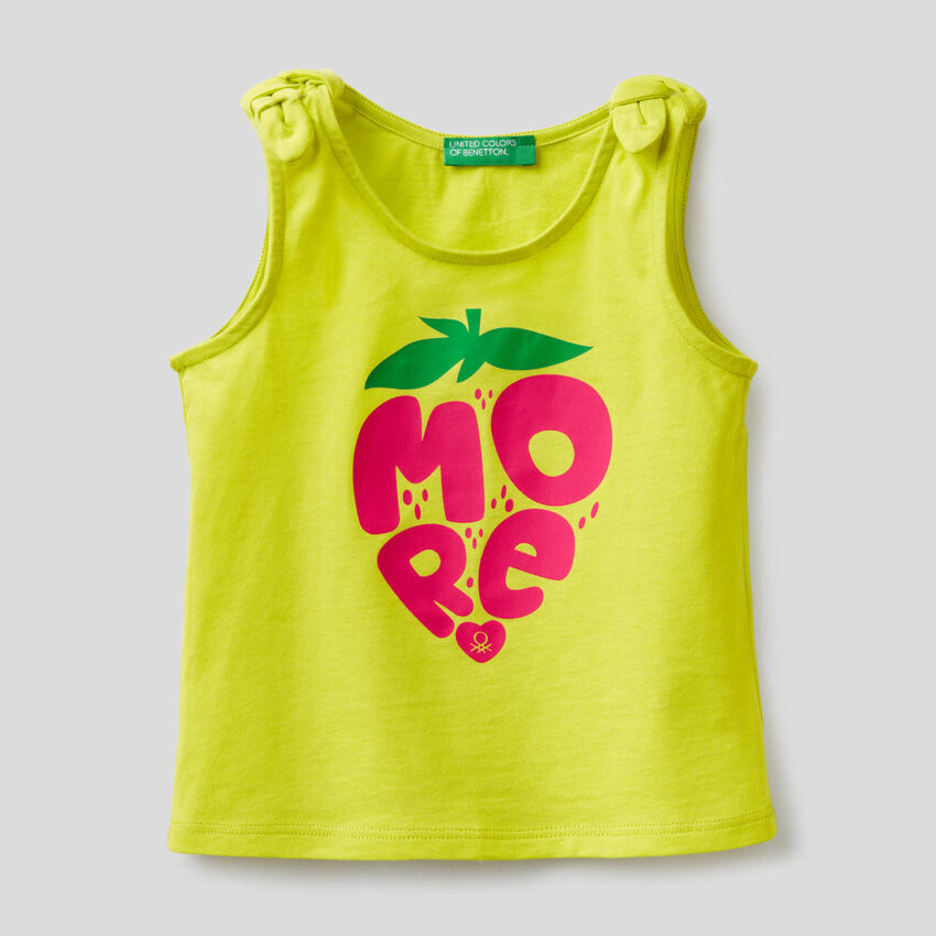 Tank top with print and bows