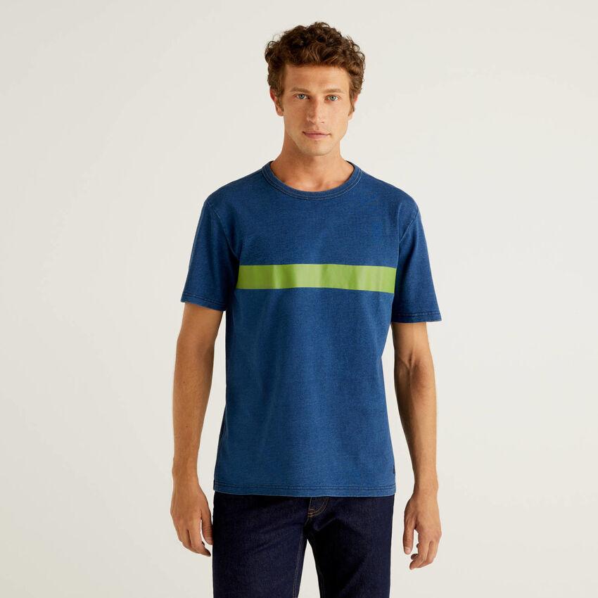 Pure cotton t-shirt with indigo dye