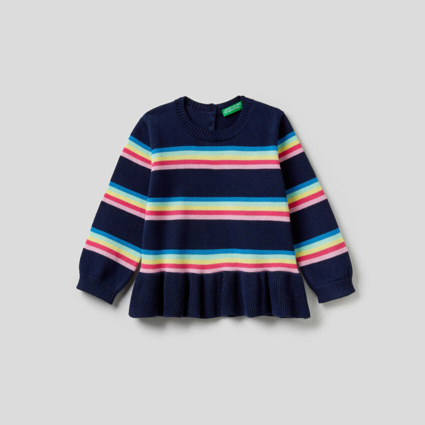 Striped top with frill