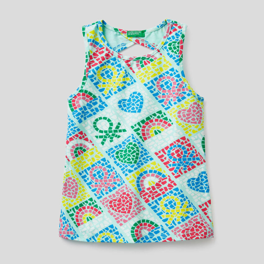 Printed tank top in stretch cotton