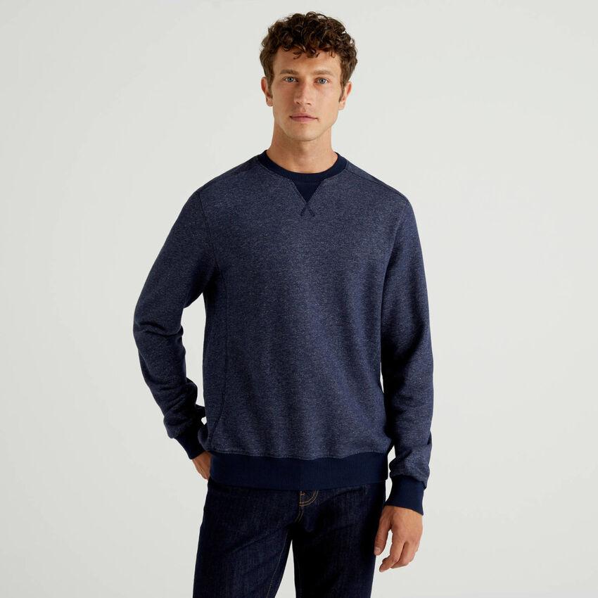 Denim look crew neck sweatshirt