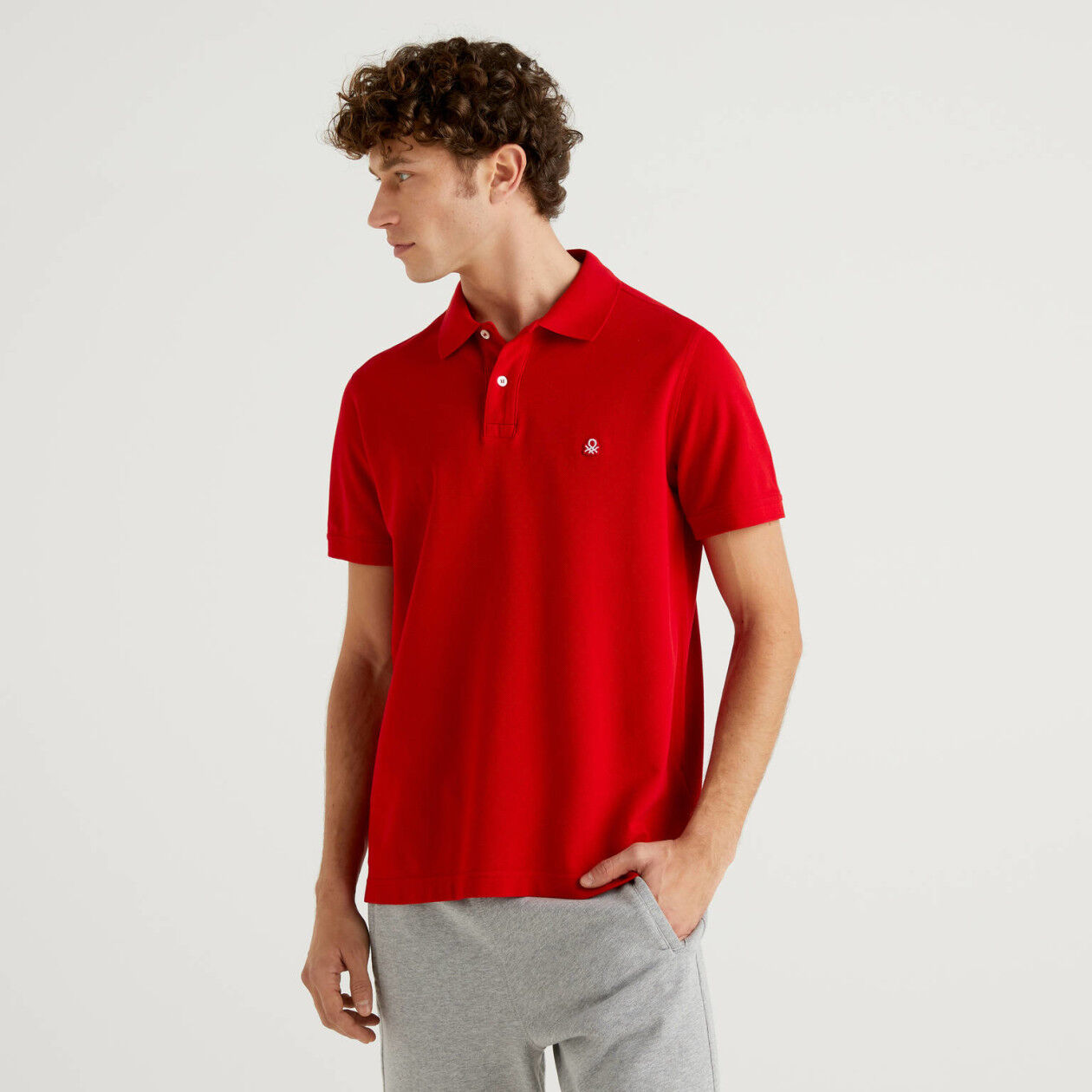 Red regular fit polo