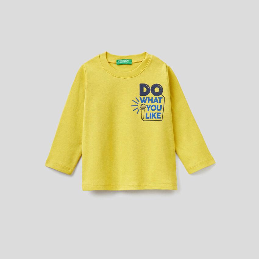 Long sleeve t-shirt with slogan print