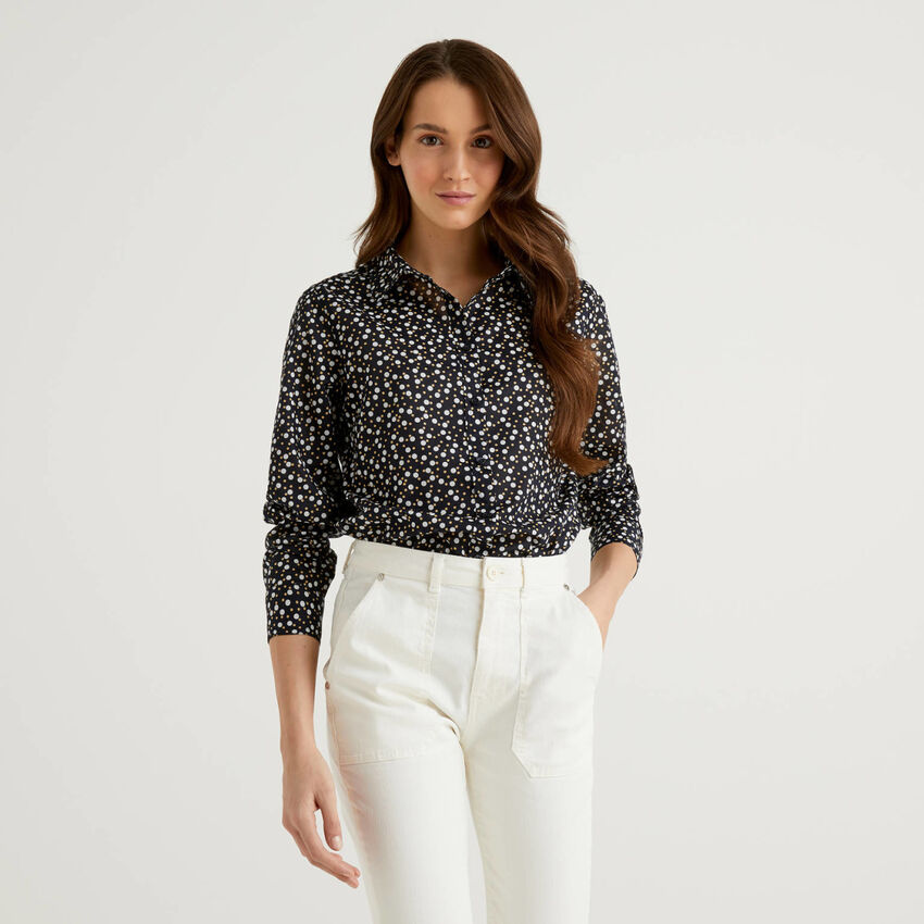 Blue shirt with polka dot print in pure cotton