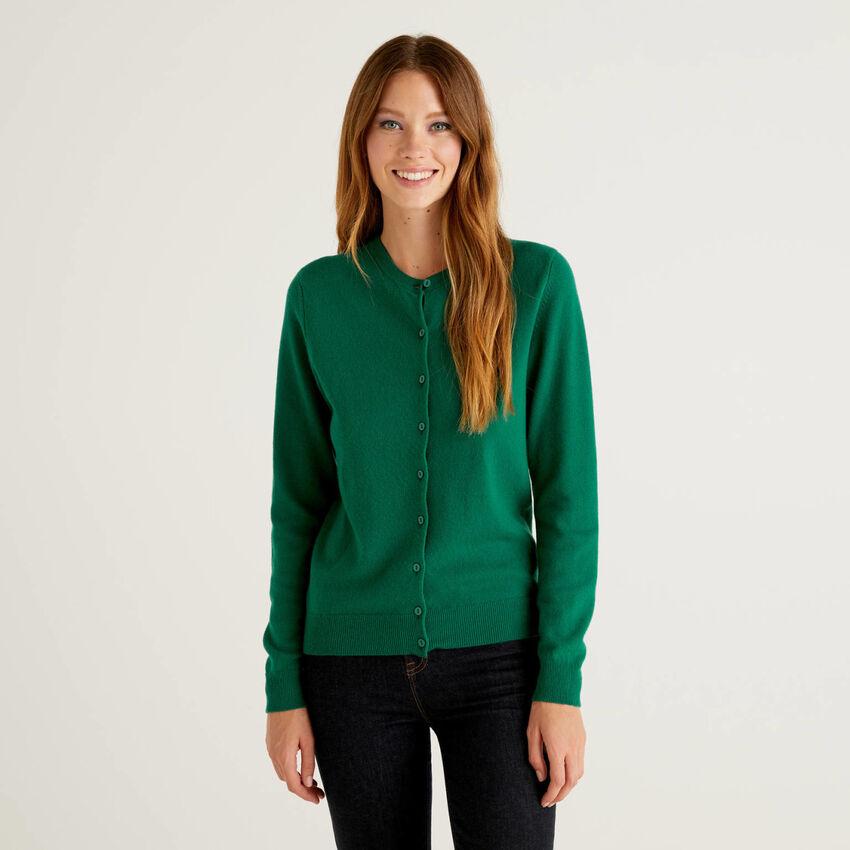 Dark green crew neck cardigan in pure virgin wool