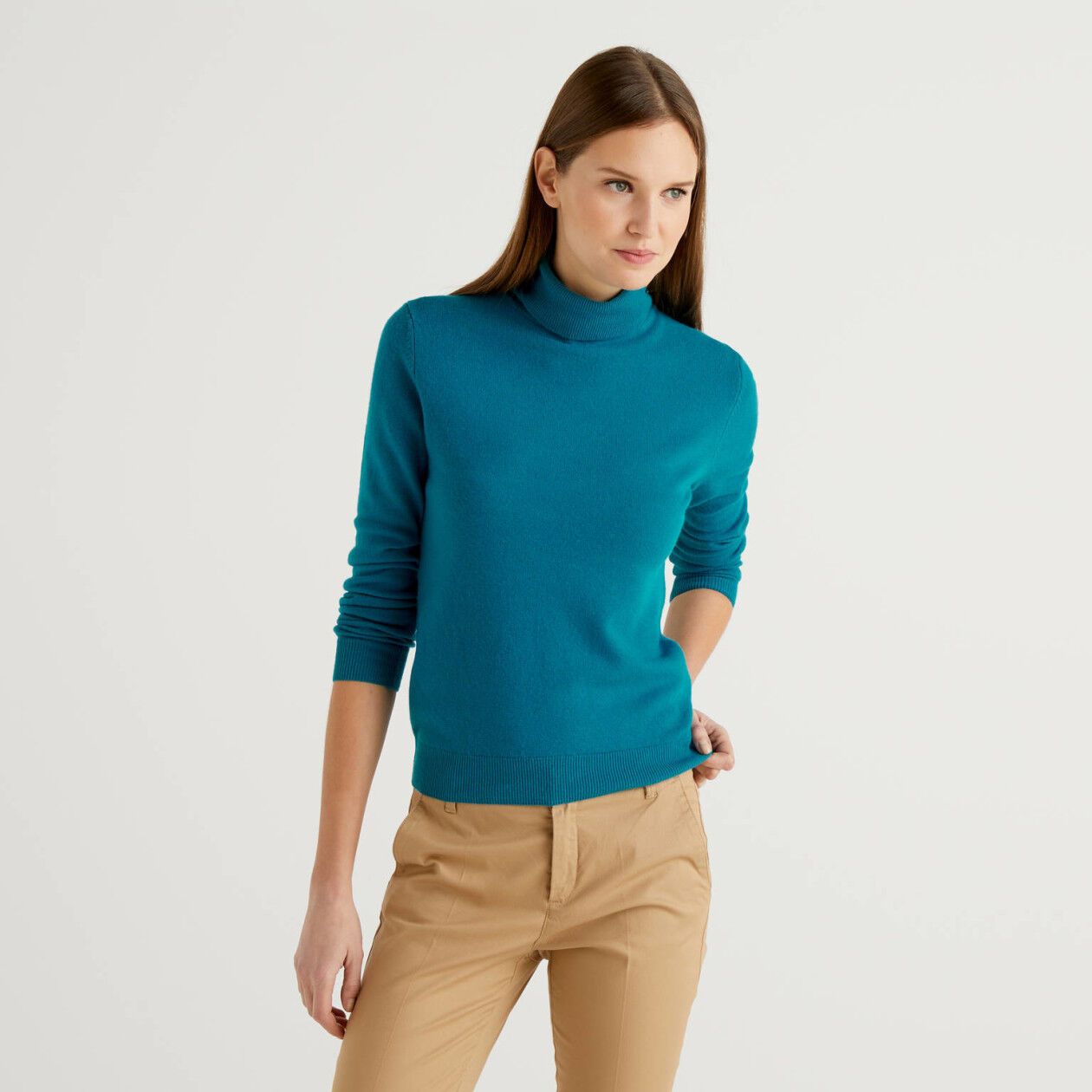 Teal turtleneck sweater in pure virgin wool