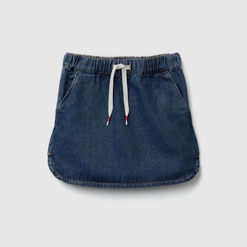 Denim skirt with drawstring
